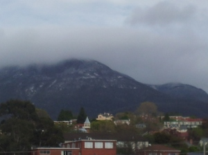 A slightly-out-of-focus Mt Wellington with snow from 14th October