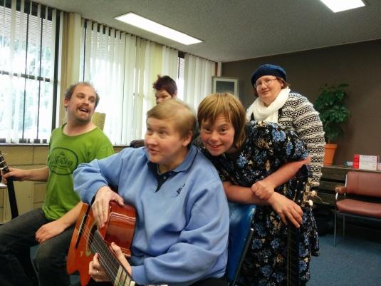 Final Rehearsal L-R: Tim, Sally, Kelly [back], Megan and Kathryn